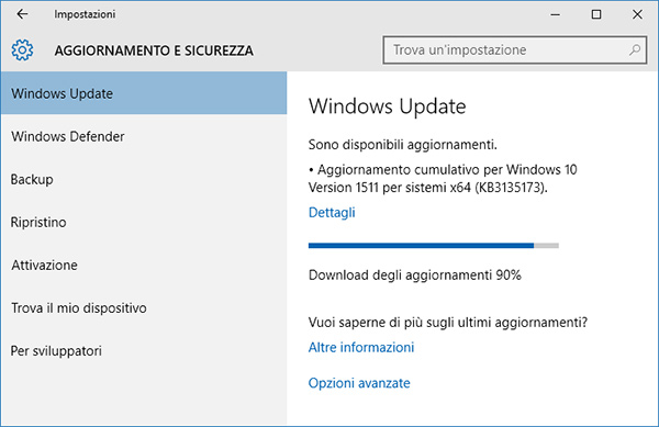 Windows 10, update cumulativo build 10586.104