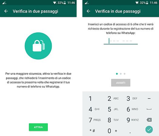 WhatsApp verifica in due passaggi