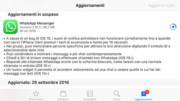WhatsApp, aggiornamento su iPhone