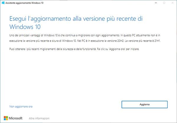 Come installare Windows 10 21H1 subito