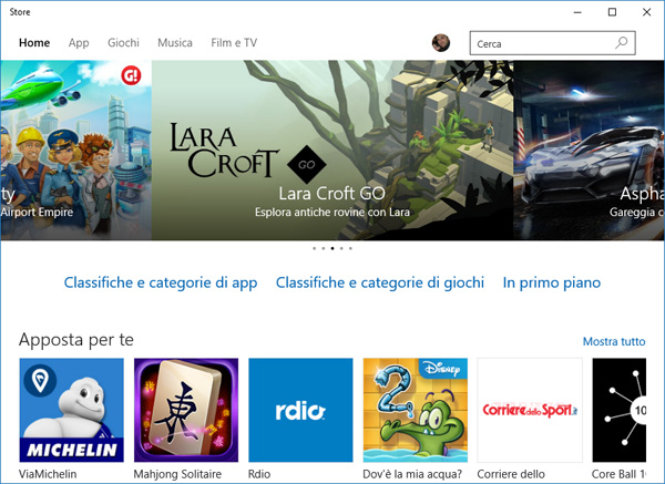 Windows Store su Windows 10