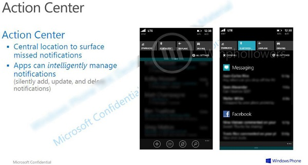 Windows Phone 8.1, Action Center