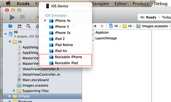Nuove opzioni Resizable iPhone e iPad su Xcode 6 beta