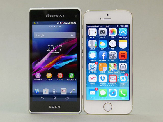 Sony Xperia Z1f, iPhone 5S